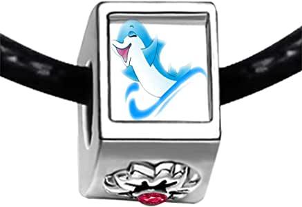 Chicforest Silver Plated Happy Cute Dolphin Photo Red Zircon Crystal July Birthstone Flower Charm Beads Fits Pandora Bracelets