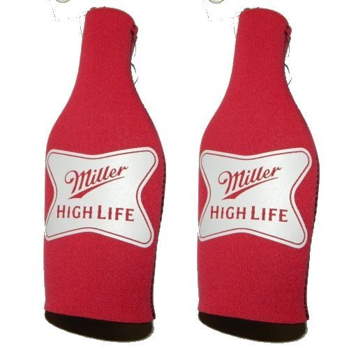 Beer Miller High Life - Neoprene Bottle Suits (2) | MHL Beer Bottle Insulators with Zipper - Set of 2