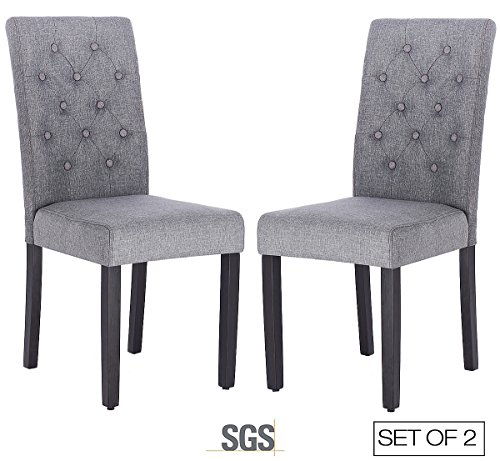 ZXBSWELE Modern Tufted Solid Wood Padded Parsons Chair for Dining Room Living Room, Grey