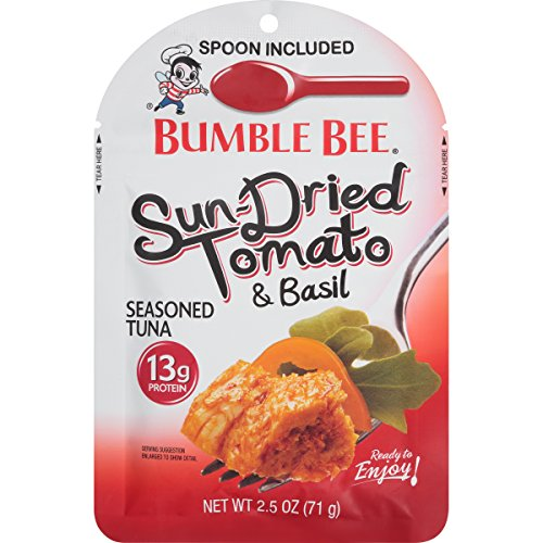 BUMBLE BEE Sun-Dried Tomato and Basil Seasoned Tuna Pouch with Spoon, Wild Caught, High Protein Food, Gluten Free, High Protein, Bulk Snacks, 2.5 Ounce Pouches (Pack of 12)