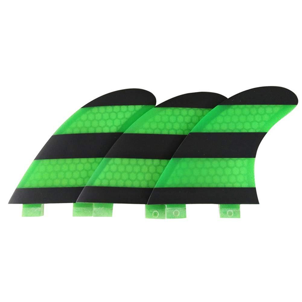 ONCEFIRST Fibreglass Surfboard Fins Thruster FCS G5 (3 Fins) Green Black M