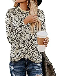 EISHOW Cute Leopard Print Womens Basic T-Shirt Round Neck Long Sleeve Soft Stretchy Blouse Pullover Tops Christmas Tees