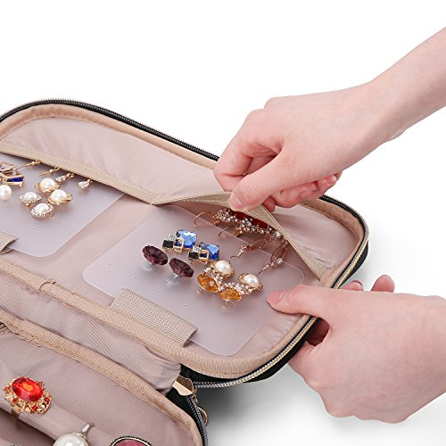 BAGSMART Double Layer Travel Jewelry Organizer Jewelry Storage Carrying Cases for Earrings, Necklaces, Rings, Pink by BAGSMART (Image #7)
