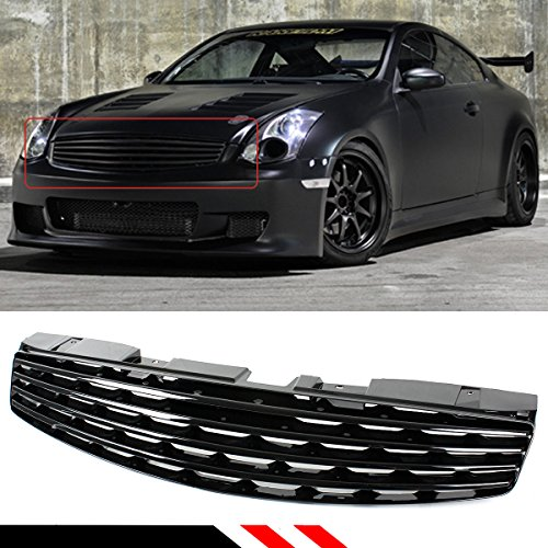 06 Infiniti G35 Coupe (FOR 2003-2007 INFINITI G35 2 DOOR COUPE GLOSSY BLACK VIP HORIZONTAL FRONT BUMPER GRILL GRILLE)