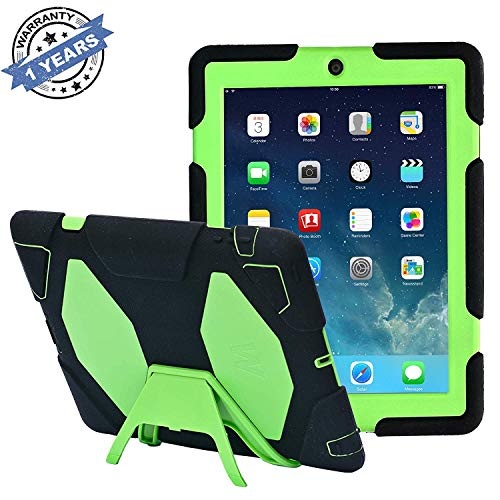 TRAVELLOR iPad Cases,iPad 2 Case,iPad 4 Case, [Heavy Duty] iPad Case,Three Layer Armor Defender And Full Body Protective Case Cover With Kickstand And Screen Protector for iPad 2/3/4 - Black/Green