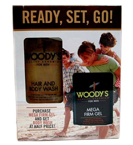 Woody's Grooming Kit for Men - Hair & Body Wash, Mega Firm G