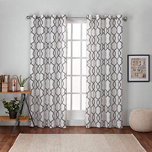 Geometric Curtain - Exclusive Home Curtains Kochi Linen Blend Window Curtain Panel Pair with Grommet Top, 54x84, Black Pearl, 2 Piece