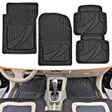 honda civic 2003 floor mats - Motor Trend FlexTough Advanced Performance Mats - 4pc HD Rubber Floor Mats for Car SUV Auto All Weather Plus (Black)