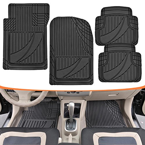 Mat Tan Weather Front (Motor Trend MT-794-BK FlexTough Advanced Performance Mats - 4pc HD Rubber Floor Mats for Car SUV Auto All Weather Plus (Black))