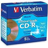Verbatim CD-R 700MB 52X UltraLife Gold Archival Grade - Branded Surface & Hard Coat - 5pk Jewel Case