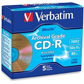 Verbatim 700MB 52x UltraLife Archival Grade Gold Recordable Disc CD-R, 5-Disc Jewel Case 96319