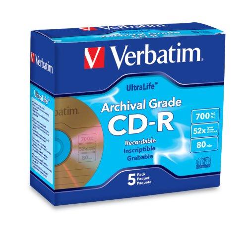(Verbatim CD-R 700MB 52X UltraLife Gold Archival Grade - Branded Surface & Hard Coat - 5pk Jewel Case)