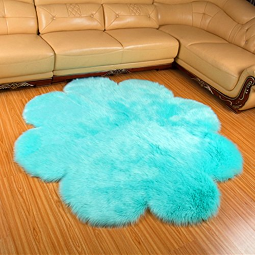 CHITONE Flower Mat Faux Fur Sheepskin Rugs, Soft Shaggy Area Rug Home Decorative Bedroom Fluffy Carpet Rug, Diameter 4 Feet, Blue
