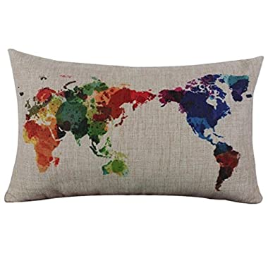 Hatop Cotton Linen World Map Decorative Cushion Cover Pillowslip Case Cover (Beige)