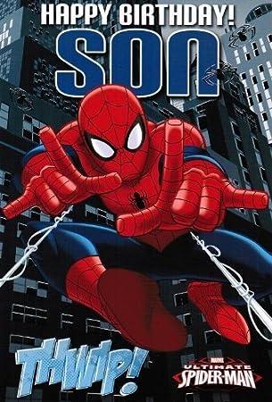 Amazon.com: Ultimate Spiderman Tarjeta de cumpleaños – hijo ...