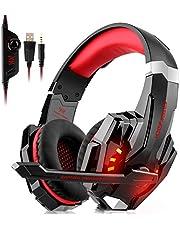 DIZA100 Gaming Headset für PS4 Xbox One PC, 3.5mm Kabelgebundenes Kopfhörer Headset mit Mikrofon, LED-Licht Bass Surround, Aluminiumgehäuse für Laptop, Smartphone, Nintendo Switch Spiele (Red)