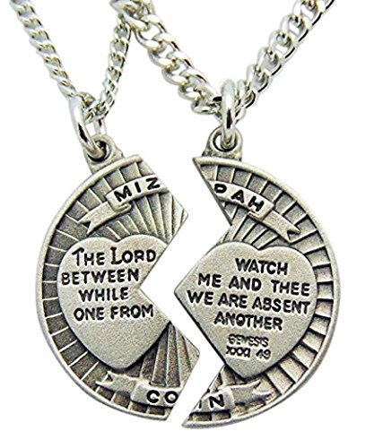 Westman Works Pewter Mizpah Necklace Set with Stainless Steel Chains, 18 Inch and 24 Inch