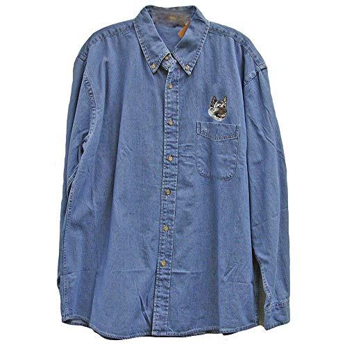 Cherrybrook Dog Breed Embroidered Mens Denim Shirts - X-Large - Denim - Akita - Denim Breed Shirt