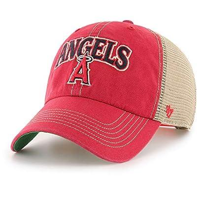 '47 Brand MLB Los Angeles Angels Clean Up Tuscaloosa Snapback Trucker Mesh Cap, Adjustable hat Red