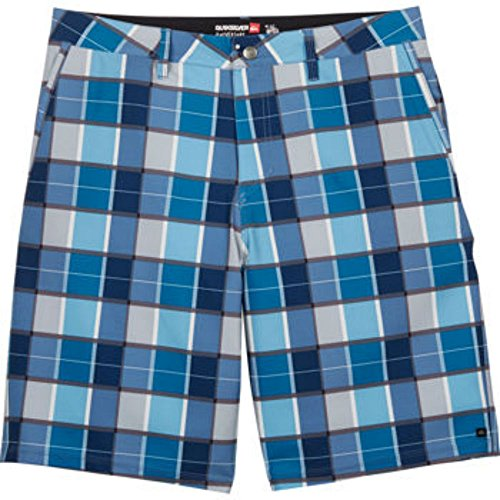 Quiksilver Men's Amphibian Short, 4-way Stretch Fabric, Relaxed Fit (32W, Blue Plaid)