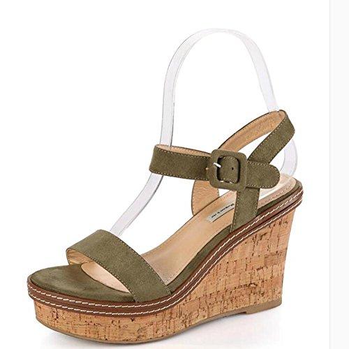 L@YC Frauen-Wedge-Sandalen Eine Fr¨¹hlings-Sommer-beil?ufige Absatz-Plattform mit starkem Soled-Wildleder Green