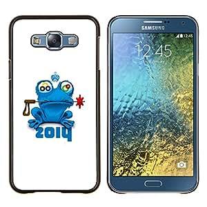YiPhone /// Prima de resorte delgada de la cubierta del caso de Shell Armor - Príncipe de la rana del cuento de hadas de la naturaleza animal azul Corona - Samsung Galaxy E7 E700