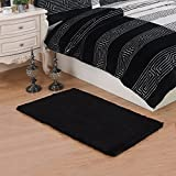 CWKTITI® Super Soft Modern Area Rugs Living Room Carpet Bedroom Rug Solid Home Decorator Floor Rug and Carpets 2.6- Feet By 5- Feet (Black)