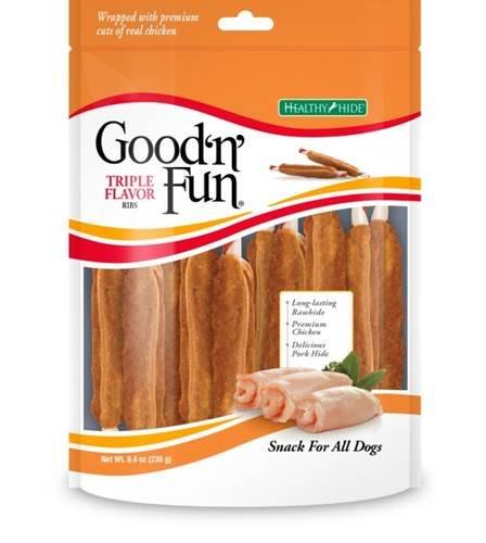 UPC 091093933375, Healthy Hide Good 'N' Fun Triple Flavor Ribs, 8.4 oz