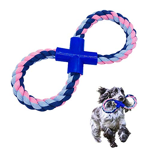 Large Dog Rope Toy & Dog Chew Toys | Tough & Durable | Indestructible Tug of War Dog Toys, 100% Natural Cotton, 8-Shaped…