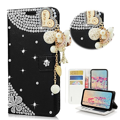 - STENES Bling Wallet Case Compatible with Galaxy J8 - Stylish - 3D Handmade Crystal Heart Pendant Flowers Magnetic Wallet Leather Cover Compatible with Samsung Galaxy J8 6.0 Inch (2018 Release) - Black
