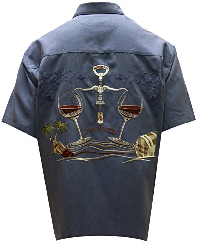 Bamboo Cay Warm Up and Unwined, Men's Tropical Style Embroidered Camp Shirt (2XL, Infra Blue) by Bamboo Cay (Image #2)