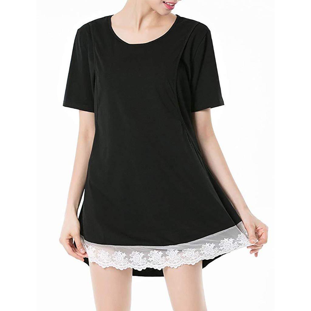 chuxin Huang❤️ Maternity Women Casual Short Sleeve Lace Pregnancy Nursing Dresses Black