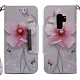 for Samsung Galaxy S9 Plus Wallet Case with Card Holder and Screen Protector,QFFUN Elegant Design [Pink Lotus] Magnetic Stand Leather Phone Cases Drop Protection Etui Bumper Flip Cover with Lanyard