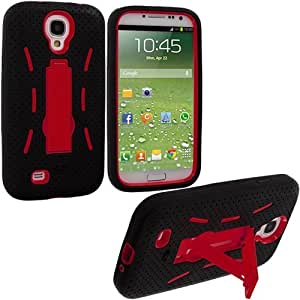 Accessory Planet(TM) Black / Red Heavy Duty Hybrid Hard/Soft Silicone Case Cover with Stand Accessory for Samsung Galaxy S4