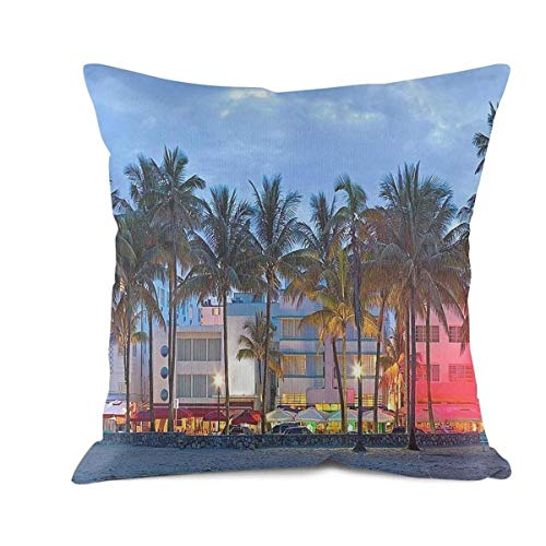 DDBBYLE Soft Cushion Cover Throw Pillow Covers Sunset Miami Beach Decorative Pillow Cases Pillowcases Cotton Square Decoration Pillow Protectors Standard Size 18 X 18]()