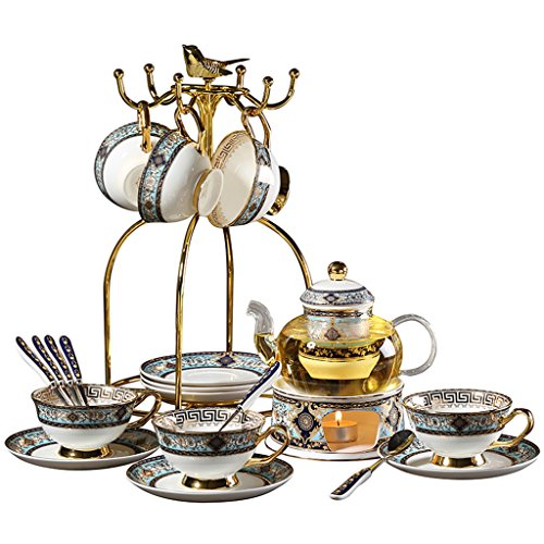 Teapot Set Ceramic European Pastoral Glass Kettle Heating Tea Coffee Cup And Saucer Home With Filter Set Of (White Japanese Painted Candle)