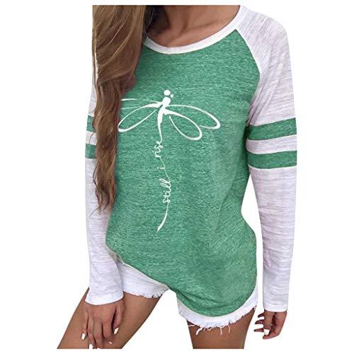 Casual Tee Shirts Color Block Loose Fits Tunic Tops Blouses,Londony Womens Short/Long Sleeve T Shirt Loose Shirts D-Green