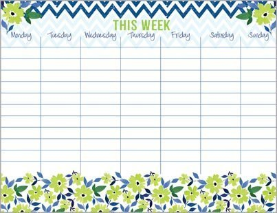 Green Flowers & Chevron Weekly Calendar Pad, with Attachable Magnet, by Gina B (Image #1)