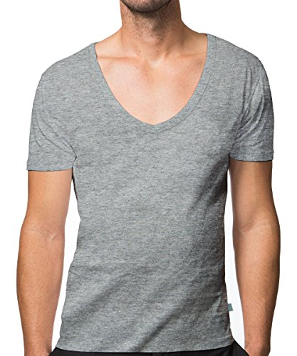 V-neck Deep Undershirt (Collected Threads Men's jT-V Invisble Undershirts 3-Pack Large Gray)