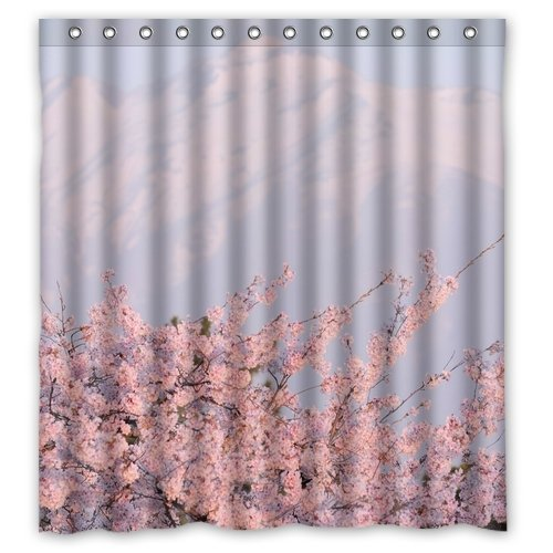 Fantastic Bath Waterproof Pookoo Cherry Blossoms In Mount Fuji Personalized Custom Polyester Fabric Shower Curtain Personalized Standard Size 60 X 72 Inch With Hooks (Fuji Fabric)