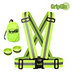 GripGlo High Visibility Neon Lime Reflective Elastic Safety Belt Harness Vest   Size: Adult   For Running, Biking, Walking, Cycling   Includes 2 Reflective Arm Bands And Carrying Bag