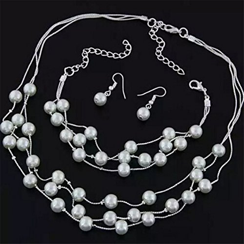 Dolland Luxury 3 Pieces Jewelry Sets Elegant Multi-layer Pearl Necklace Earrings Bracelet Sets,Silver