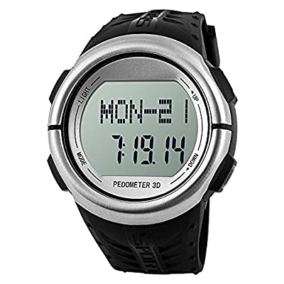 Oittm Sport Watch with Heart Rate Monitor, Fitness Activity Tracker & Running Exercise Timers, Calorie Counter, Pedometer, Countdown, Stopwatch, Dual Alarm and El Backlight with Rubber Gel Strap Digital Running Watch (B-Silver)