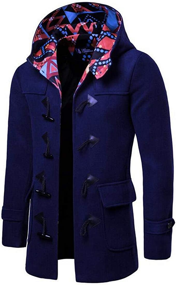 Bravepe Mens Turtle Neck Contrast Mid Length Horn Button Hooded Wool Blend Trench Coat Jacket Outerwear