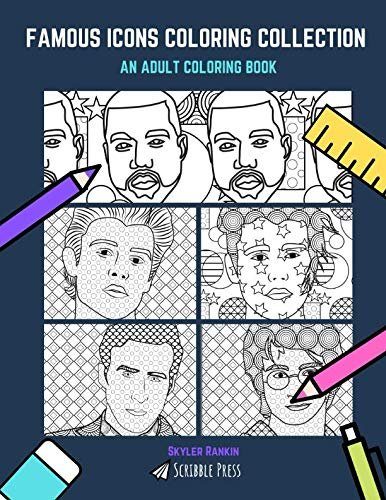 FAMOUS ICONS COLORING COLLECTION: Kanye, Bieber, Shawn Mendez, Daniel Radcliffe & Ryan Gosling - 5 Coloring Books In 1