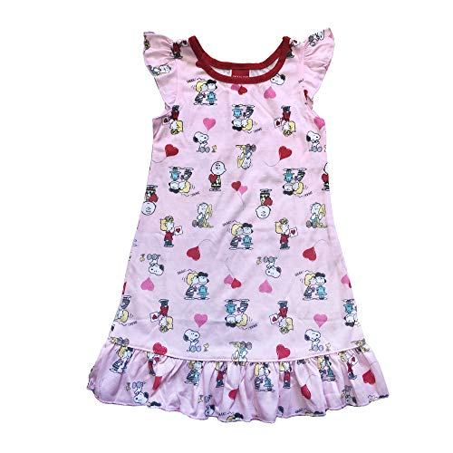 Sally Charlie Brown - Girls Peanuts Charlie, Sally Brown, Snoopy, Linus, Lucy Van Pelt Pink and red Hearts Soft Knit Nightgown