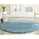 Safavieh Milan Shag Collection SG180-6060 Aqua Blue Round Area Rug (3'...