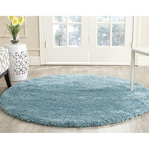 Safavieh Milan Shag Collection SG180-6060 Aqua Blue Round Area Rug (3' Diameter) (Round Ft 3 Rug)