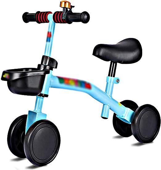 JIU BU Bicicleta Bebé Equilibrio, Baby Balance Bicicleta, Bicicleta Bebé 4 Ruedas Niño Primer Regalo de cumpleaños para sin Pedales Juguetes Bebes 1-3 años Blue: Amazon.es: Hogar