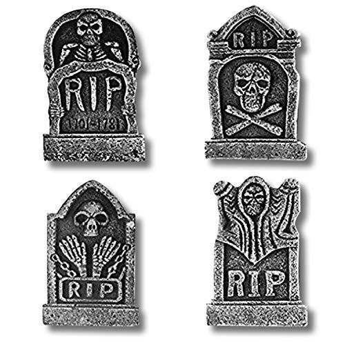 "Prextex Pack of 4 Halloween Décor 17"" RIP Graveyard Lightweight Foam Tombstone Halloween Decorations -"